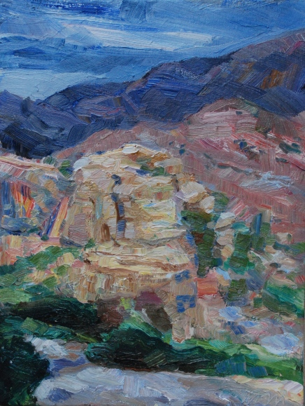 Meredith Milstead, Hoodoo Halo, oil on canvas, 9x12, 2013
