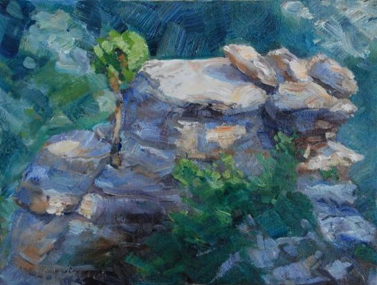 Meredith Milstead, Juniper Sparkle, 9x12, oil on canvas, 2013