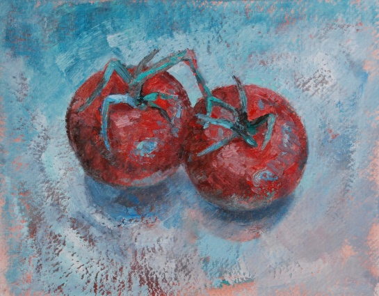 split complement red, milstead painting