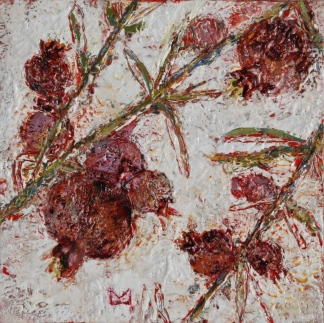 Precious Fruits Red, 10x10x2, encaustic on panel, Milstead