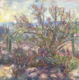 Palo Verde Tucson Mountains, 12x12, oil, M Milstead