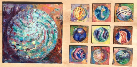 Mr.Mahoney's Marbles, 9@6x6 & 20x20, oil on linen, M.Milstead